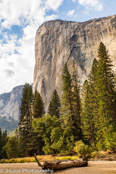 El Capitan rising above the Merced river