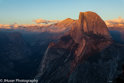 Half Dome in golden light at sunset