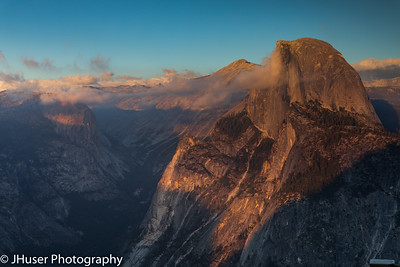 Golden light of sunset on Half Dome