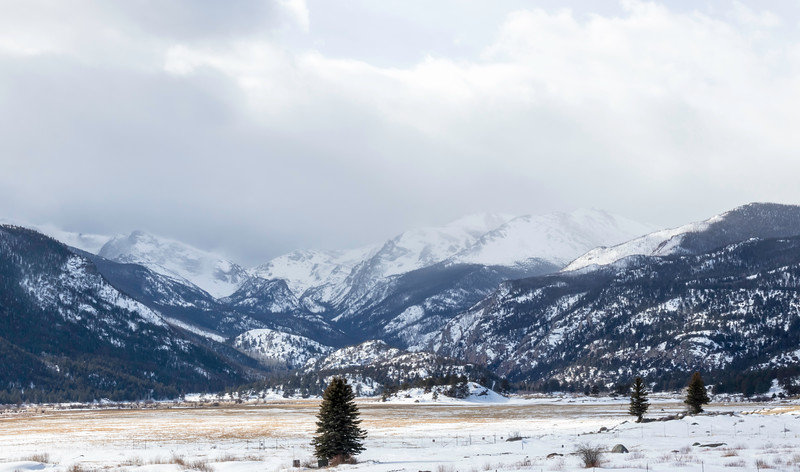 Looking across the valley as the snow storm clears over the mountains