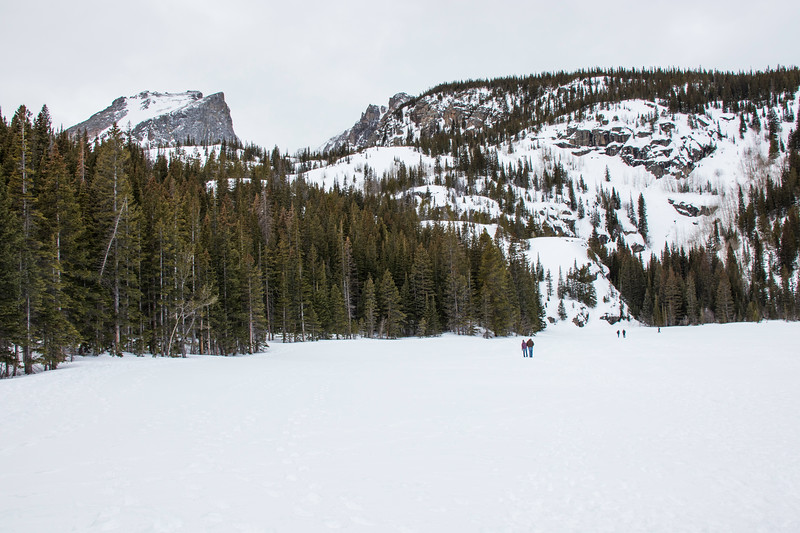 A snowy view of Bear Lake in winter in Rocky Mountain National Park
