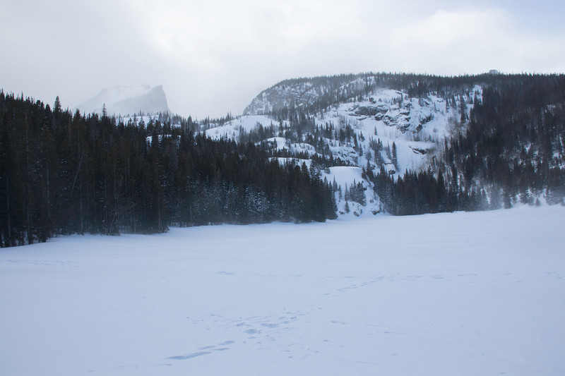 A snowy day at Bear Lake in Rocky Mountain National Park