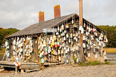 Lobster buoys hanging on walls of oar house