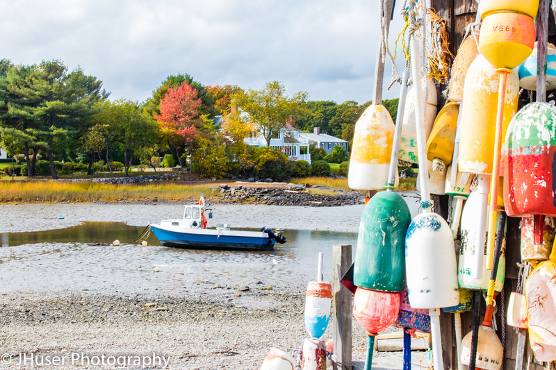 Lobster buoys and Autumn view