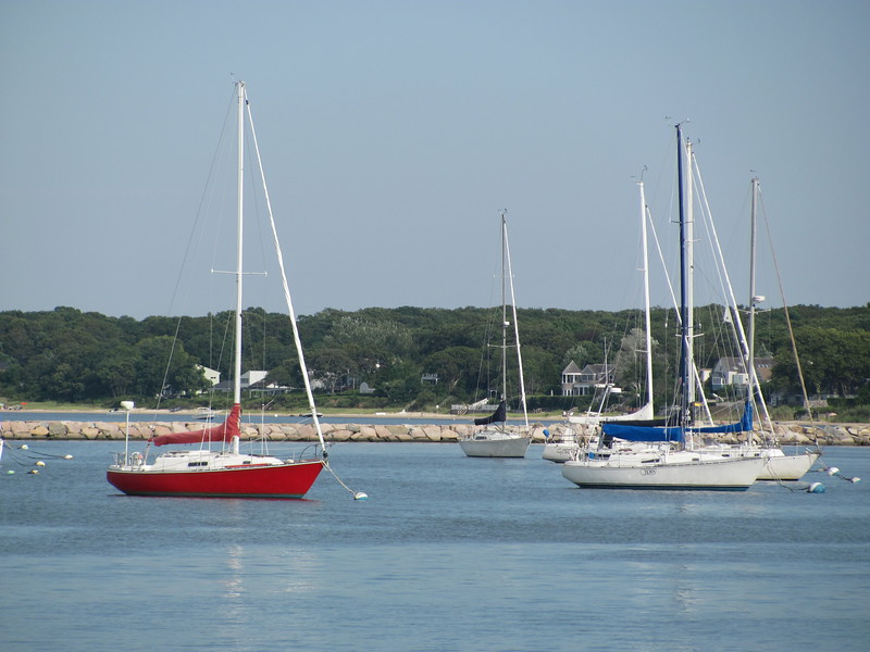 Sailboats in Montauk on Long Island in NY