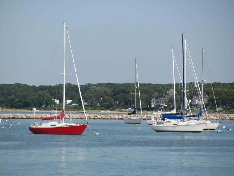 Sailboats in Montauk on Long Island in NY