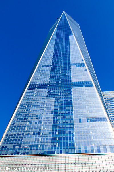 Looking up the side of One World Trade Center in New York City
