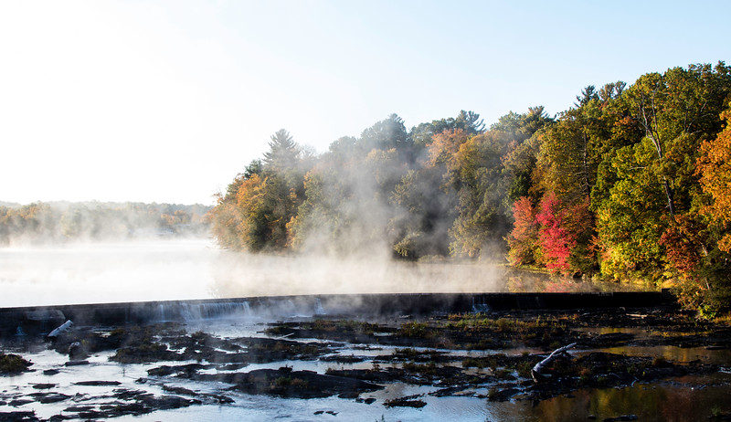Steaming water on a cold Autumn morning