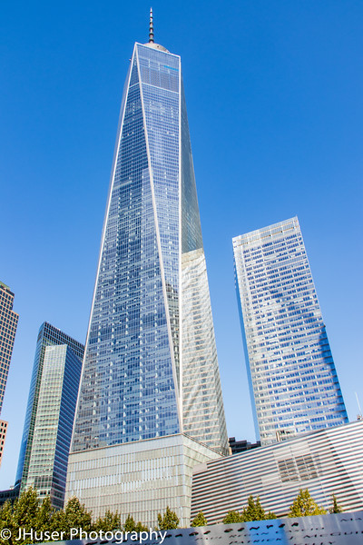 One World Trade building and the National September 11th Memorial