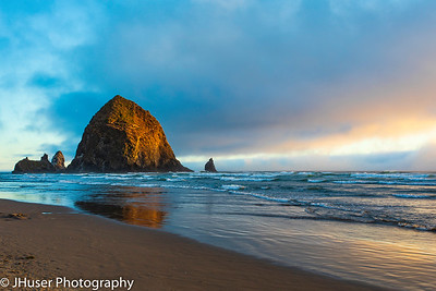 Haystack Rock in the golden evening light