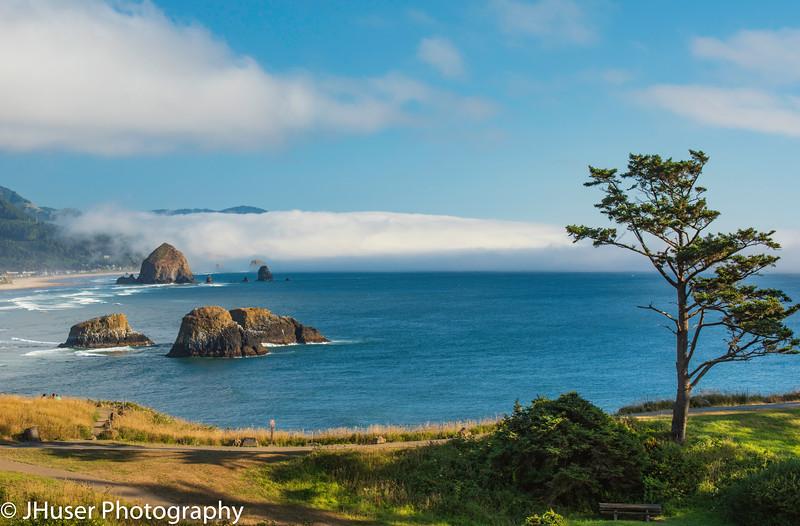 Looking at Haystack Rock along the Oregon Coast