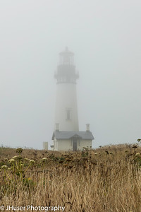 Yaquina Head Lighthouse in the fog