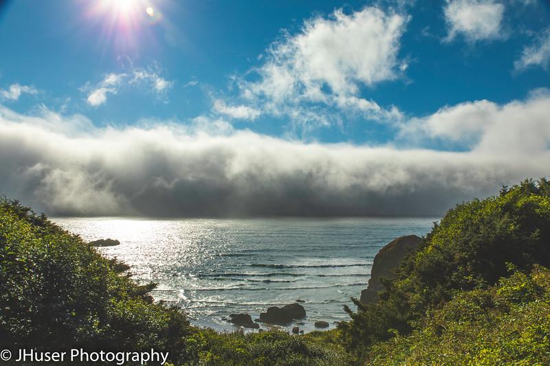 A wall of fog along the Oregon coast