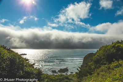 A wall of fog along the Oregon coast
