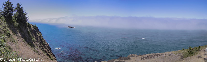 Wall of fog over the water as seen from Cape Foulweather