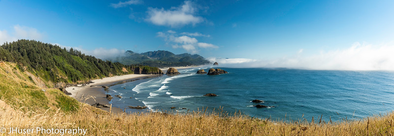 Panoramic view of Crescent and Cannon Beach in Oregon