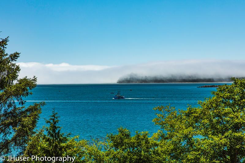 Shrimp boat heading out toward wall of fog