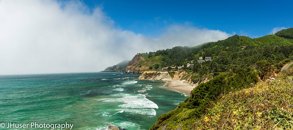 Panoramic view of rugged Oregon coast