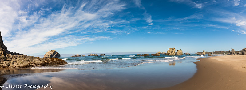 Panorama of a sunny Bandon Beach in Oregon