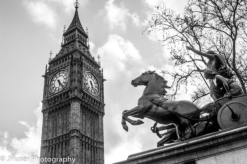 Big Ben and Boadicea statue in Black and White