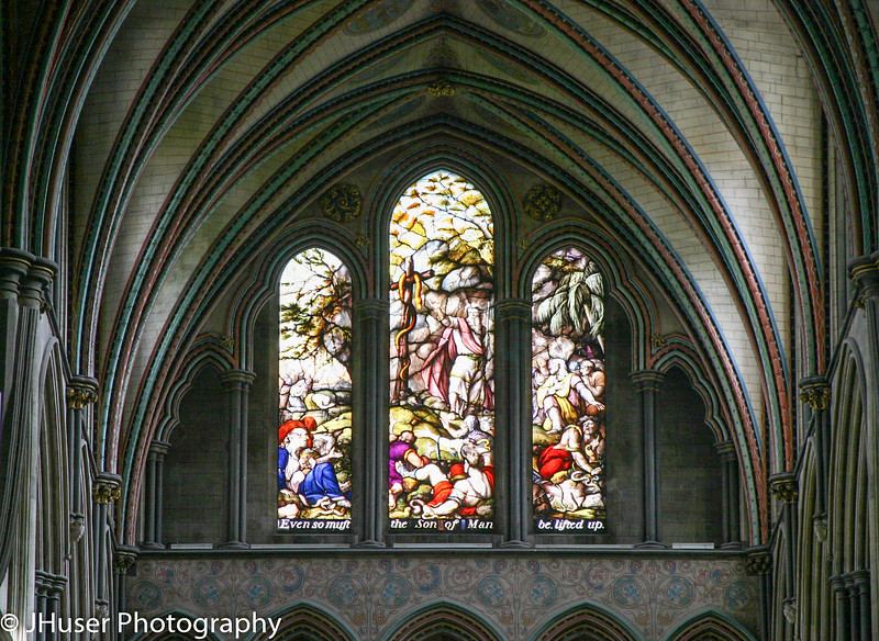 Transept stained glass in Salisbury Cathedral