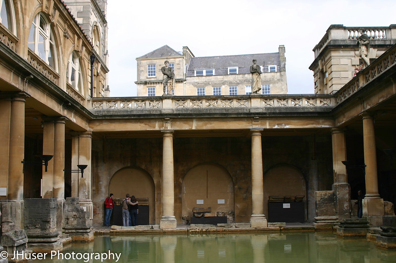 The lower level of the Roman baths in Bath
