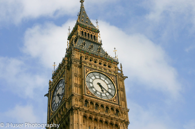Closeup of Big Ben on a sunny day