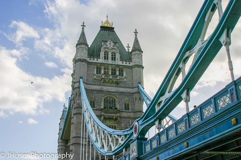 Looking down the side of Tower Bridge