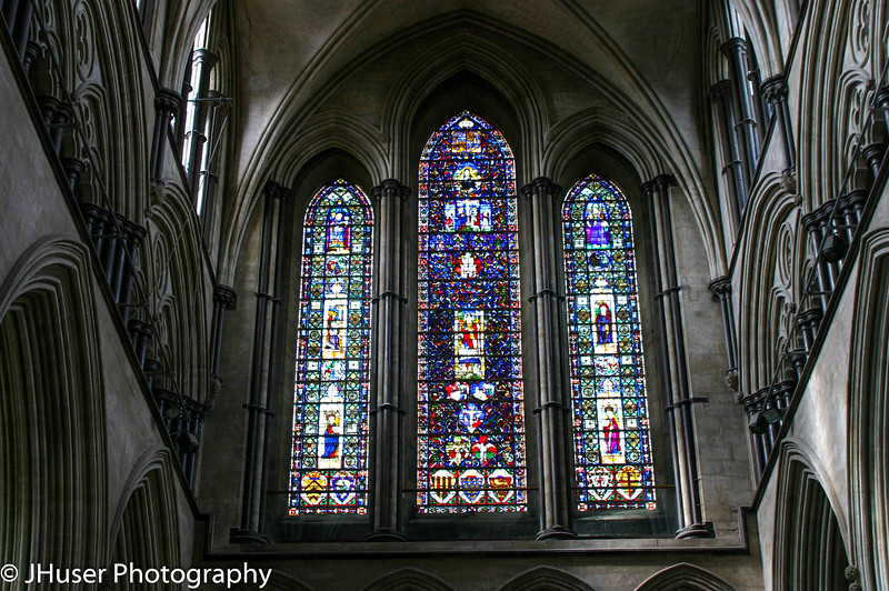 Blue stained glass in Salisbury Cathedral