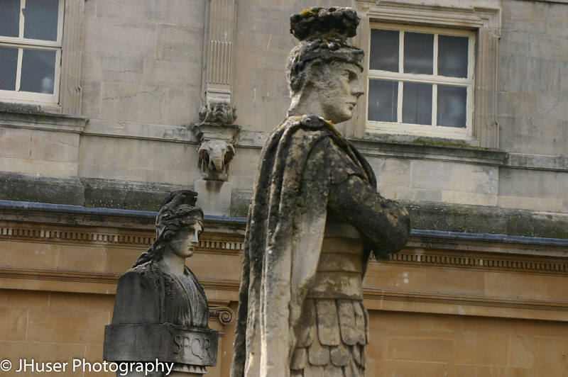Closeup of Roman statues in Bath