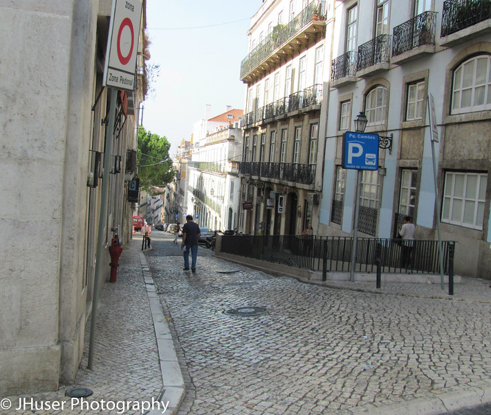 Narrow cobbled roads in Lisbon Portugal