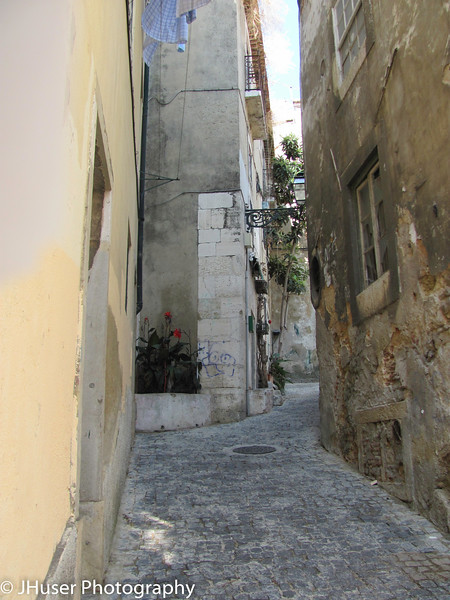 Old cobblestone roads in Lisbon
