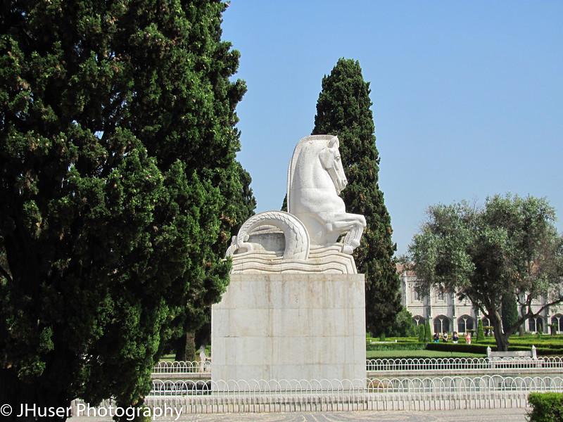 Horse statue in Jardim de Belem in Lisbon