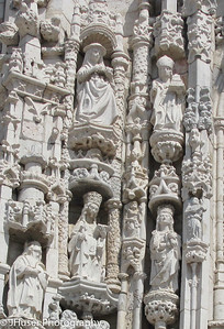 Closeup of stone work above the entrance of the Jeronimos monastery in Lisbon