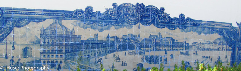 Large tile mosaic on a building in the Alfama area of Lisbon