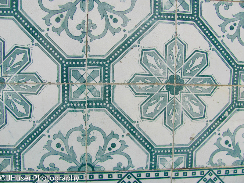 Close view of colorful tile work in Lisbon