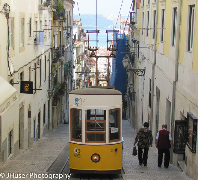 Funicular car in Lisbon Portugal