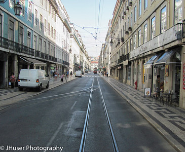Streets and sidewalks in Lisbon Portugal
