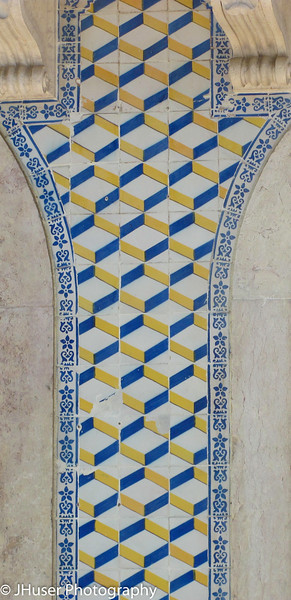Closeup of tilework on apartment building in Lisbon