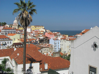 Buildings in the Alfama area of Lisbon overlooking the Tagus river
