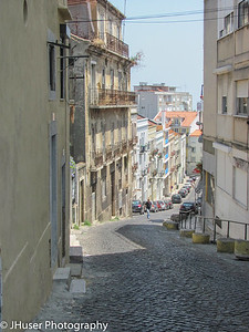 Narrow roads in the Old Town parts of Lisbon