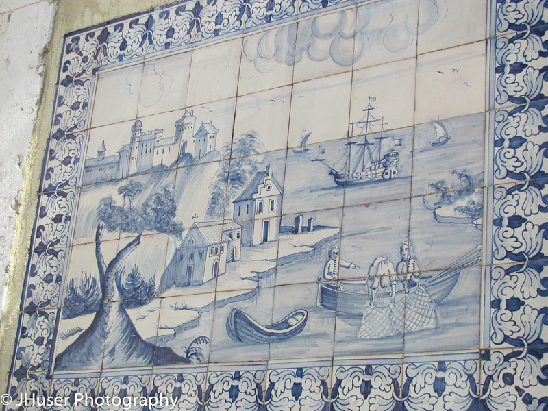 History is shown in tilework in the Old Town section of Lisbon