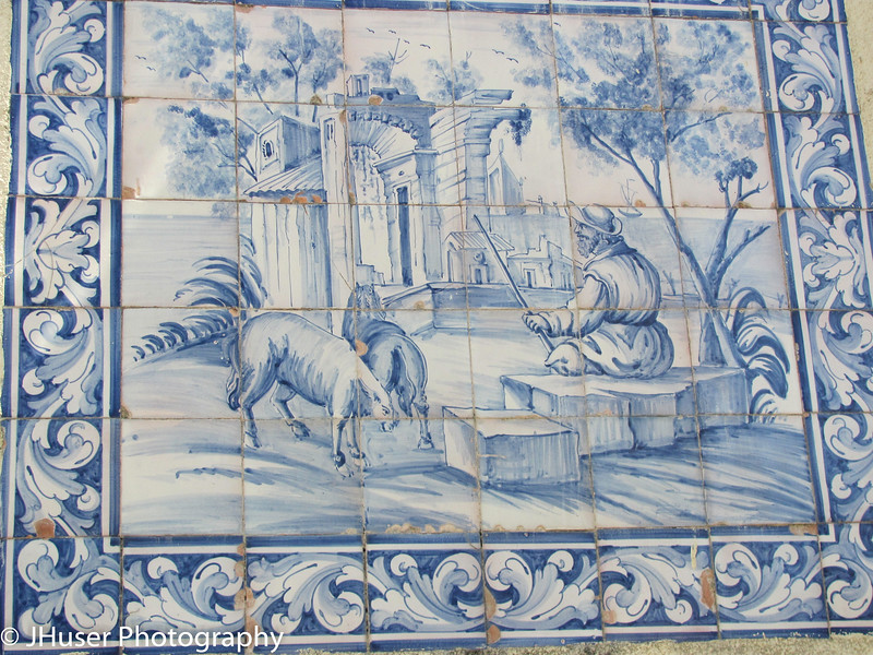 Handmade tile in the Old Town area of Lisbon