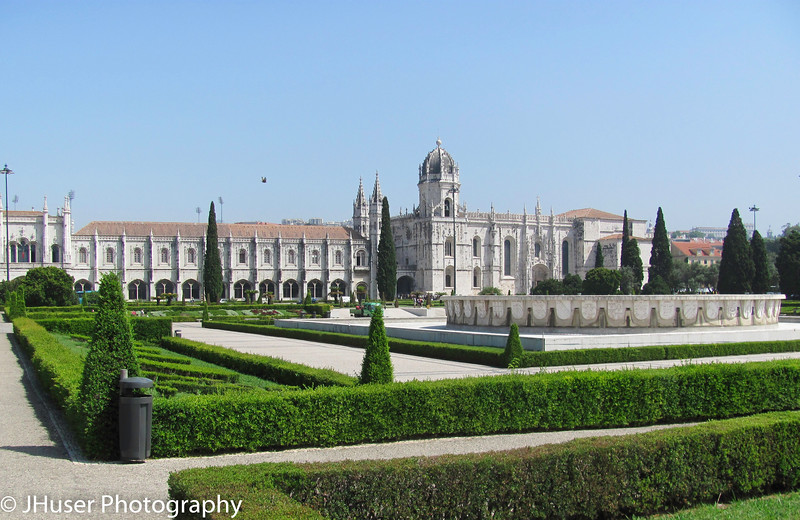 The Monasterio de los Jeronimos from the gardens in Lisbon