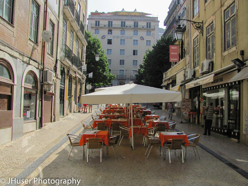 Outdoor cafes in Lisbon Portugal