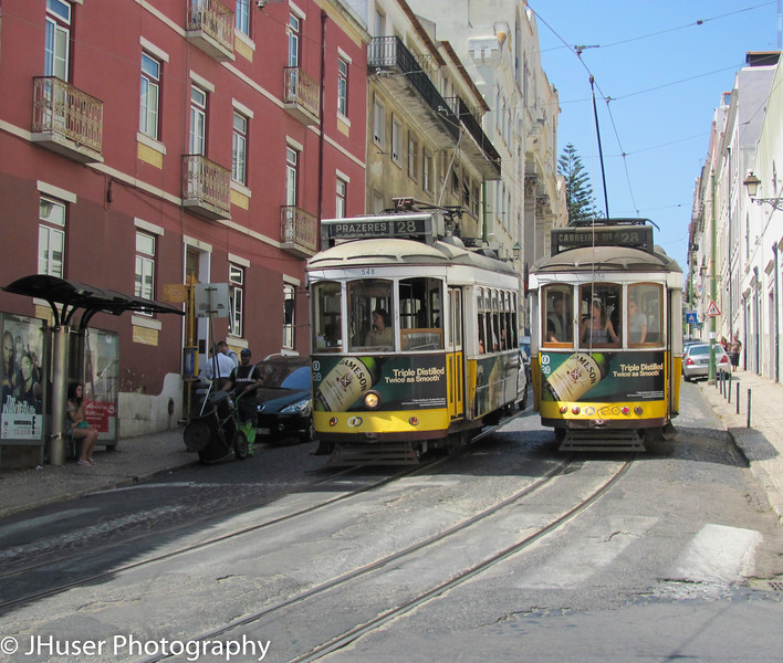 Tram 28 winds its way through the Old Town part of Lisbon