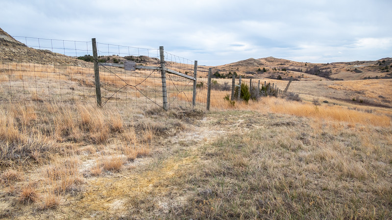 Fence Line at the Western Border of the South Unit of Theodore Roosevelt National Park,  North Dakota