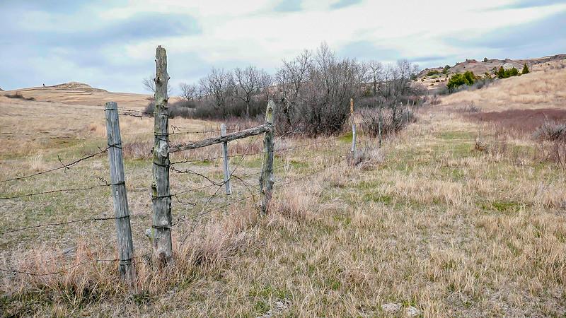 Rustic Ranch Fence Line in the Little  Missouri National Grasslands, Western North Dakota