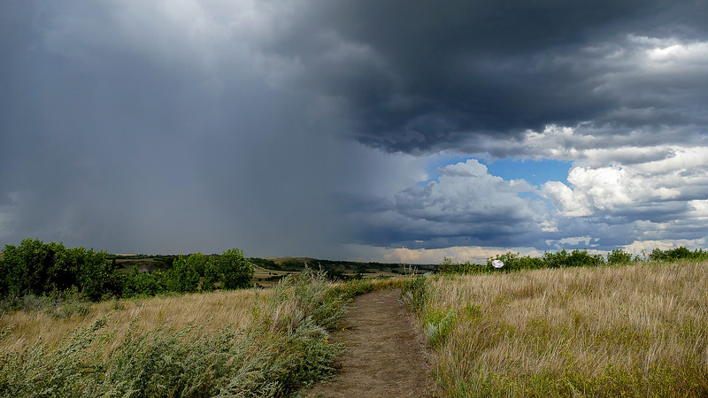 Storms Approaching the Nux Baa Ga Trail, Indian Hills in North Dakota