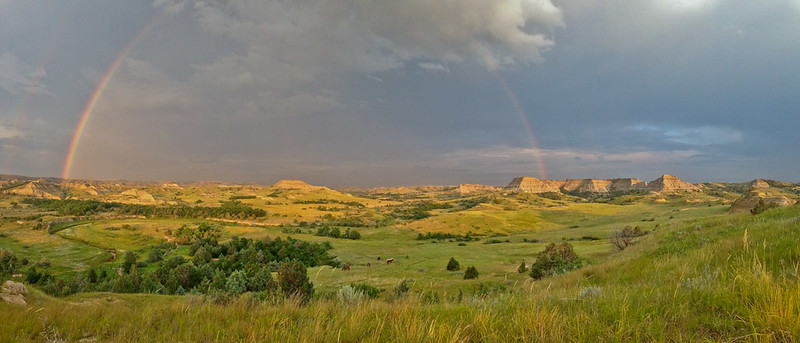 Rainbow and Horses at Magpie, Badlands of North Dakota